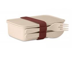 Bambusovo plastová krabička na obědy NETAL s příborem - béžová