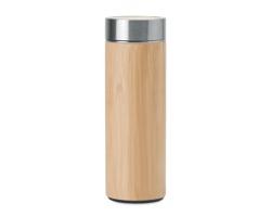 Nerezovo bambusová láhev MEDI s integrovaným sítkem, 400 ml - dřevěná