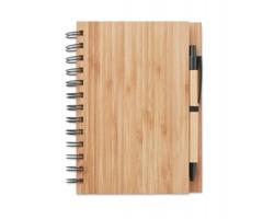 Bambusový poznámkový blok SLOGS s propiskou, formát A5 - hnědá (dřevo)