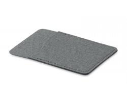 Polyesterové pouzdro na kartu WEEDY s lepítkem na zadní straně - šedá