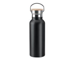 Nerezová dvouplášťová termoska WENDS s bambusovým víčkem, 500 ml - černá