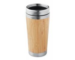 Dvoustěnný bambusový hrnek WOOED, 400 ml - dřevěná