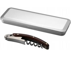 Nerezový číšnický nůž IRONDALE s dřevěným dekorem v dárkovém boxu - stříbrná