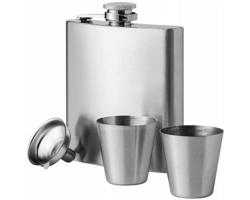 Nerezová kapesní láhev s nálevkou a pohárky FLATTY, 175 ml - stříbrná