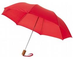 Dvoudílný polyesterový deštník RAINY s kovovou konstrukcí - červená