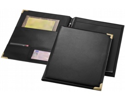 Konferenční desky s imitací kůže a zlatým dekorem POSER, formát A4 - černá