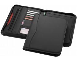 Konferenční desky na zip LILAC s přihrádkami a linkovaným blokem v designu imitace kůže, formát A4 - černá