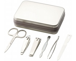 Sada na manikúru NAILS, 6 ks v kovové krabičce - stříbrná
