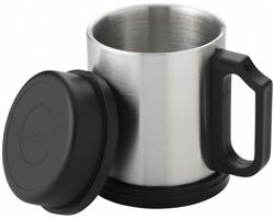Nerezový hrnek POLES, 290 ml - stříbrná / černá