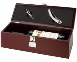 Dřevěná kazeta na víno BYRES se zátkou a číšnickým nožem - hnědá