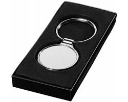 Kovový kruhový přívěsek na klíče MODIS s vysokým leskem v dárkové krabičce - stříbrná