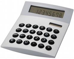 Osmimístná plastová stolní kalkulačka CIST se solárním panelem - stříbrná