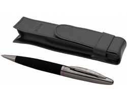 Kovové kuličkové pero Balmain ARYAN a pouzdro v imitaci kůže - černá