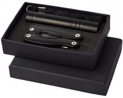 Hliníková svítilna a multifunkční nástroj CARY v dárkové kazetě, 11 funkcí - černá