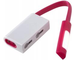 Plastová LED svítilna NAPPY s magnetem a karabinou - světle fialová / bílá