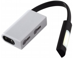 Plastová LED svítilna NAPPY s magnetem a karabinou - černá / bílá