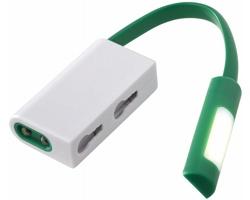 Plastová LED svítilna NAPPY s magnetem a karabinou - zelená / bílá