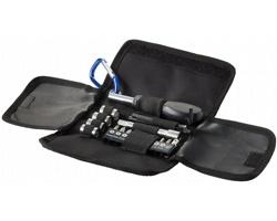 Malá skládací sada nástrojů AXON s karabinkou, 19 ks - černá / modrá