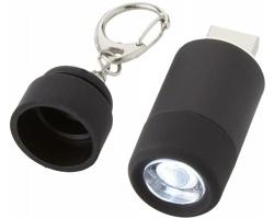 Plastová svítilna na klíče CANTON s USB nabíječkou a LED dobíjecím světlem - černá