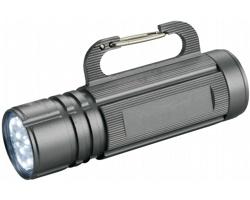 Kovová LED blikačka CRYPT s karabinkou - stříbrná