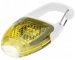 Bezpečnostní reflexní karabinka BODGIE s LED svítilnou - bílá / žlutá