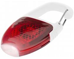 Bezpečnostní reflexní karabinka BODGIE s LED svítilnou - červená / bílá