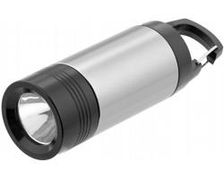 Kompaktní mini LED blikačka GLARE s karabinou - stříbrná / černá