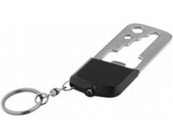 Multifunkční svítilna na klíče LOUSY, 8 funkcí - černá / šedá
