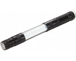 Hliníková teleskopická svítilna ENDOWED s magnetem - černá