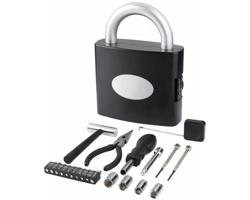 Plastový kufřík s nářadím TUBA tvaru zámku, 21 komponentů - černá / stříbrná