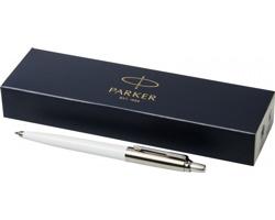 Plastové kuličkové pero Parker JOTTER BALLPOINT PEN s kovovými detaily v dárkové kazetě - bílá / stříbrná