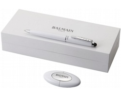 Sada kuličkového pera Balmain VERGENNES s USB 4G - bílá