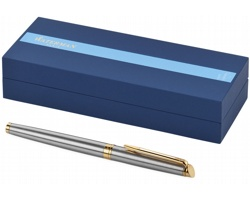 Ocelové kuličkové pero se zlatými detaily Waterman HÉMISPHERE ROLLERBALL PEN - stříbrná / zlatá