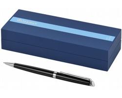 Značkové lakované kuličkové pero Waterman HÉMISPHERE BALLPOINT PEN s klipem - černá / stříbrná