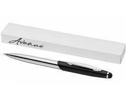 Kovové kuličkové pero a stylus CANST s kombinovaným matným a lesklým povrchem v dárkové kazetě se sametem - černá / stříbrná
