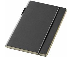Zápisník v pevné vazbě Journalbooks CUPPIA s barevným hřbetem a poutkem na pero, formát A5 - černá / šedá