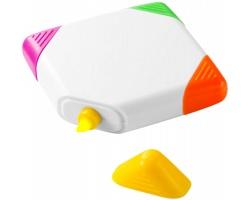 Plastový čtvercový zvýrazňovač FIXED s plochými hroty žlutého, oranžového, růžového a zeleného zvýrazňovače - bílá