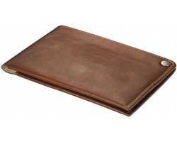 Kožená supertenká peněženka Balmain TAGS - hnědá