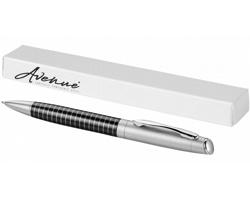 Kovové kuličkové pero BALLS s proužkovaným vzorem - černá / stříbrná
