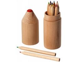 Sada pastelek AROMA, 12 ks v dřevěném tubusu ve tvaru pastelky - hnědá
