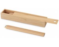 Sada pastelek WOODY v dřevěné krabičce, 12 ks - přírodní