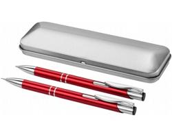 Sada kuličkového pera a mikrotužky GRATO v dárkovém pouzdře - červená / stříbrná