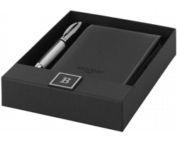 Dárková sada kuličkového pera Balmain DORMY a koženkovým zápisníkem - černá / stříbrná