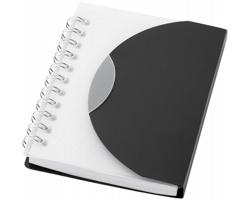 Plastový zápisník IRIS  s překlápěcí obálkou, formát A7 - černá / transparentní