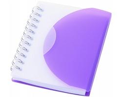 Plastový zápisník IRIS  s překlápěcí obálkou, formát A7 - purpurová / transparentní