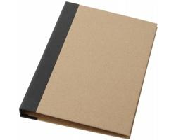 Papírové desky KITTIE s poznámkovým blokem, perem a lepicími bločky - přírodní / černá