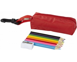 Sada dřevěných pastelek MOZELLA v barevném penále, 8 ks - červená
