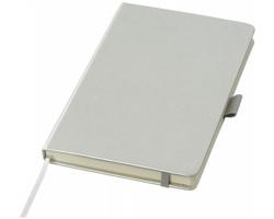 Poznámkový blok HERMS s deskami v imitaci kůže, formát A5 - stříbrná