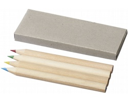 Sada dřevěných pastelek LASSOES v papírové krabičce, 4 ks - přírodní