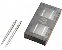 Kovová sada kuličkového pera a mikrotužky Parker JOTTER DUO v dárkové kazetě - ocelová / chromovaná